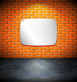 Metal screen on the brick wall — Stock Vector