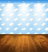 Childish room with a wooden floor and clouds on wallpaper — Stock Vector