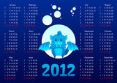 2012 calendar. Year of blue water dragon. — Stock Vector