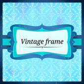 Blue aged frosty frame — Stock Vector