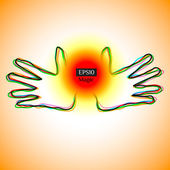 Energy hands showing magic power ball — 图库矢量图片