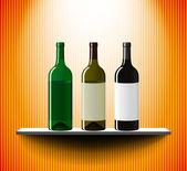 Wine bottles on a lightened shelf — Stock Vector