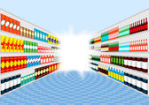 Supermarket shelves perspective with light at the end of corridor — Stock Vector