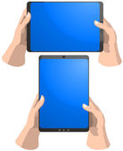 Set of tablet PC frames in hands — Stock Vector