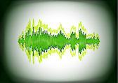Abstrakt grün sound-wellenform — Stockvektor