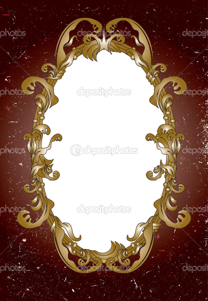 Worn card with ornamental mirror — Stockvectorbeeld #8345041