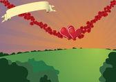 Swinging hearts — Stock Vector