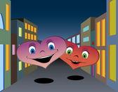 Happy hearts in the night city — Stock Vector