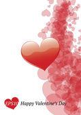 Glansigt valentine kort med öppna hjärtan — Stockvektor