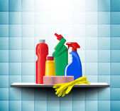 Cleaner bottles on the shelf in bathroom — Stock Vector
