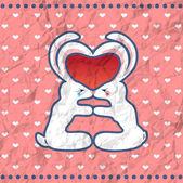 Valentine's kissing rabbits vintage card — Stock Vector