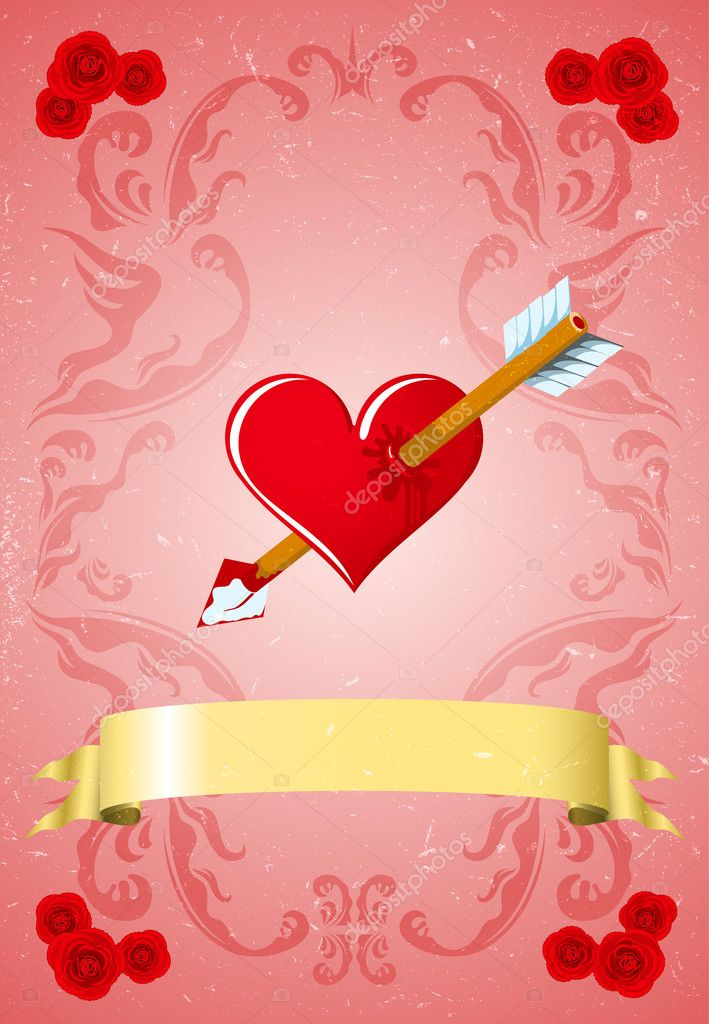 Vintage Valentine's day card — Stock Vector #8478473