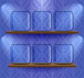 Glas tijdelijke aanduidingen op de planken — Stockvector