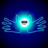 Mains tenant la puissance mystique ball — Vecteur