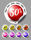 Sale stickers with percents — Stock Vector