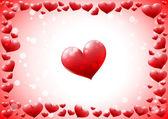 Glossy hearts frame — Stock Vector