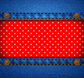 Jeans frame with polka dot patch — Vettoriale Stock