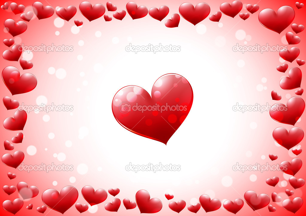Glossy hearts frame — Stock Vector #8842157