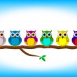 Funny colorful owls in a row — Vettoriali Stock