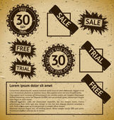 Sale, free and trial vintage stamp labels — Vector de stock