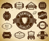 Set of vintage Premium Quality labels — Stock Vector