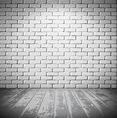 White brick room with wooden floor — Stock Vector
