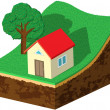 Earth slice with house and tree — Stockvectorbeeld