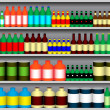 Stock Vector: Supermarket shelves