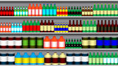 Supermarket shelves — Stock Vector