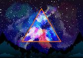 Mystic galaxy view genom den astrala triangeln — Stockvektor
