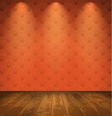Red room with wooden floor — Stock Vector
