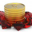 Golden coins and ruby gems — Foto Stock