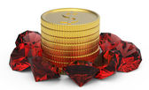 Golden coins and ruby gems — Stock Photo