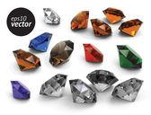 Set of vector gems — Stock Vector