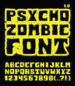 Psycho Zombie Font — Stock Vector