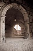Historical hallway in old castle in Krumlov — Stock Photo