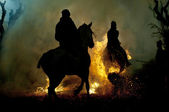 Horse and fire — Stock Photo