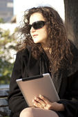 Tablet Computer in park — Stock Photo