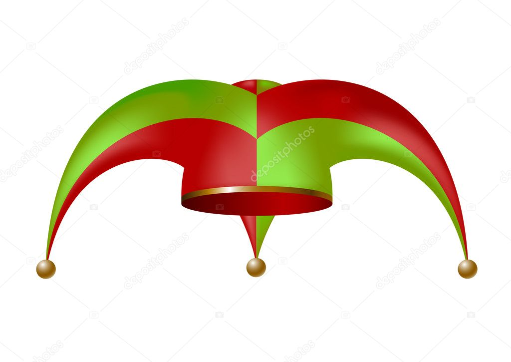 Jester hat in green and red design isolated on white background — ベクター素材ストック #10058558