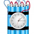 Time bomb connected to clock explodes - Stock Vector