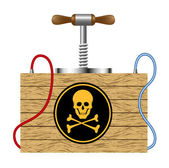 Bomb with danger sign (skull symbol) — Stock Vector