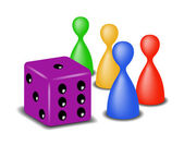 Board game figures with purple dice — Stock Vector