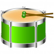 Drum instrument in green colour with drumsticks - Stock Vector
