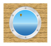 Sea and Hot air balloon in a silver ship window - porthole in a wooden wall — Stock Vector