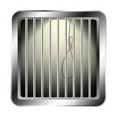 Jail window with a noose — Stock Vector