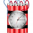 Stock Vector: Time bomb connected to clock explodes