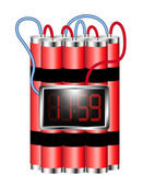 Time bomb connected to digital clock explodes — Stock Vector
