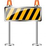 Warning sign with orange flashing siren — Stock Vector #8917670