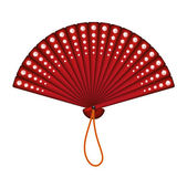 Red oriental fan with red diamonds — Stock Vector