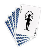 Playing cards – blue back side and joker — Stock Vector